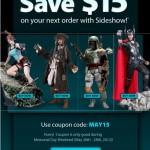 Promo du week end chez Sideshow : économisez 15$