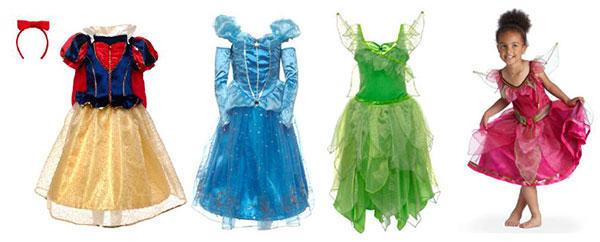 Deguisements- princesses disney Blanche Neige Cendrillon Clochette et Roselia
