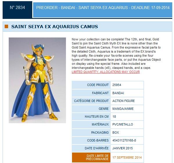 camus verseau Myth cloth Ex