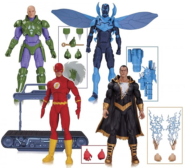 DC COMICS ICONS: THE FLASH, BLUE BEETLE, BLACK ADAM AND LEX LUTHOR ACTION FIGURES