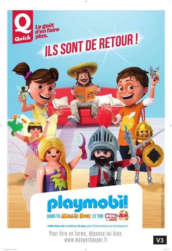 Quick/Playmobil, un partenariat exceptionnel du 7 avril au 18 mai 2015 dans tous les restaurants Quick