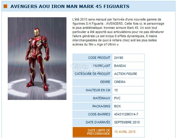 S.H.Figuart Avengers Age of Ultron / Ere d'Ultron  Iron man mark 45
