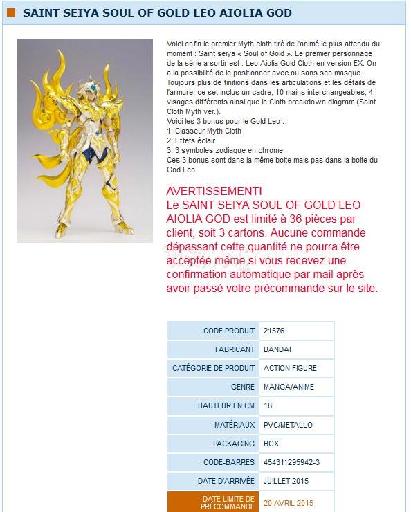 SAINT SEIYA SOUL OF GOLD LEO AIOLIA GOD Myth Ex