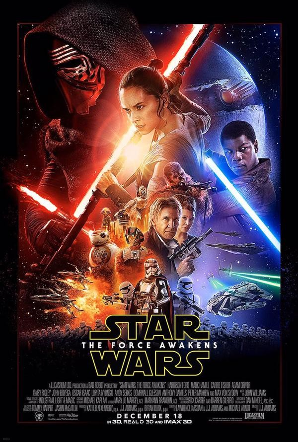 L'affiche officielle du film Star Wars épisode 7 The Force Awaken