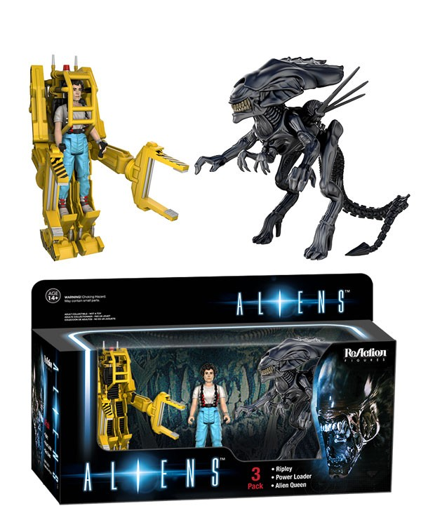 Aliens funko ReAction  3 pack  Ripley, the Power Loader suit, and the Alien Queen!