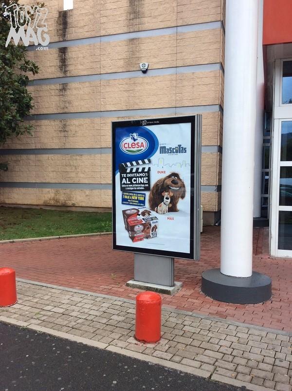 Dès l'entrée du centre, une prime pour des Yaourts Mascotas (Comme des Bêtes) nous accueille...