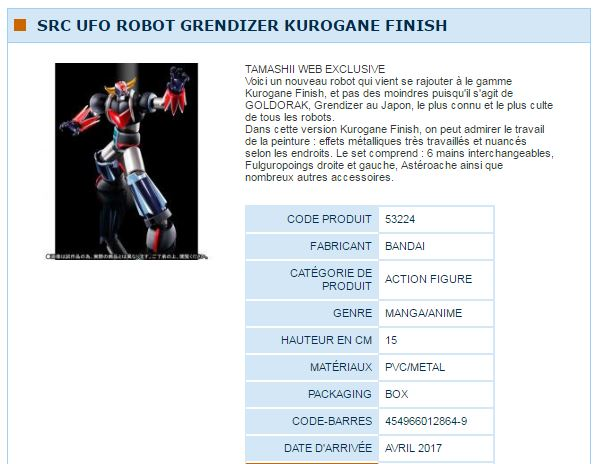 SRC UFO ROBOT GRENDIZER KUROGANE FINISH TAMASHII WEB EXCLUSIVE