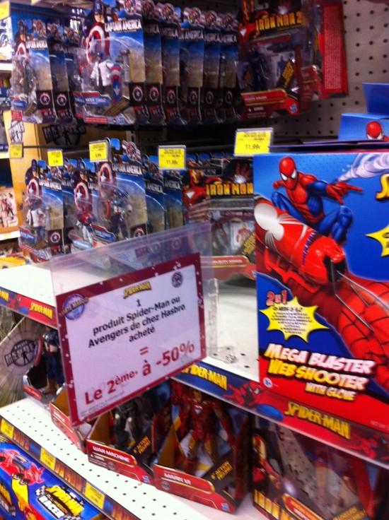 -50% hasbro iron man spiderman, thor captain america toy r us