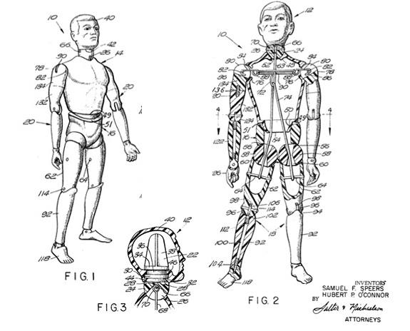 """U.S. Patent 3,277,602 for a """"toy figure having movable joints"""" aka the original G.I. Joe. Délivré le 11 octobre 1966 (image: Google Patents)"""