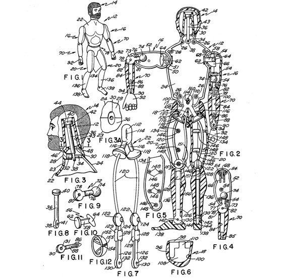 Bearded G.I. Joe with Kung-fu grip. U.S. Patent 3,988,855 (image: Google Patents)