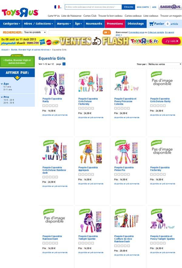 MLP equestria girls Toys R Us France