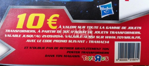 Transformers 4 code promo 10€ de reduction
