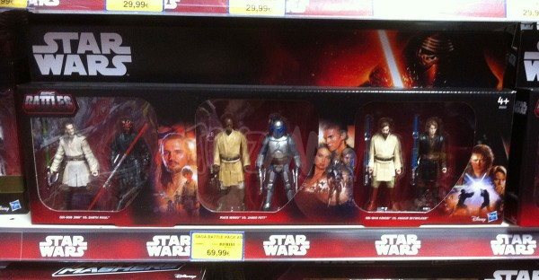 STAR WARS EXCLU TOYS R US  Pack Prelogie Star Wars : Qui Gon Jinn Vs Darth Maul; Mace Windu vs Jango Fett; Obi-Wan Kenobi vs Anakin Skywalker