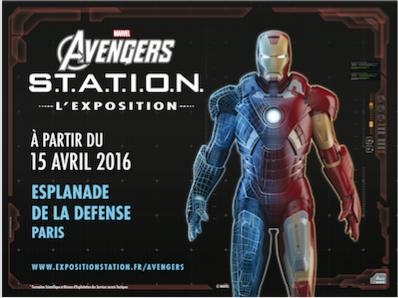 L'Exposition « Marvel Avengers : S.T.A.T.I.O.N. » s'installe à Paris  sur l'Esplanade de La Défense le 15 avril 2016.