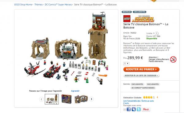 le set LEGO 76052 Série TV classique Batman – La Batcave