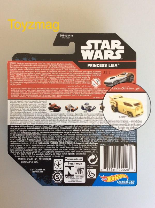 Zoom sur le nouveau dos des Character Cars. Un crash entre la voiture C-3PO et la voiture Bespin ça donnera quoi ?