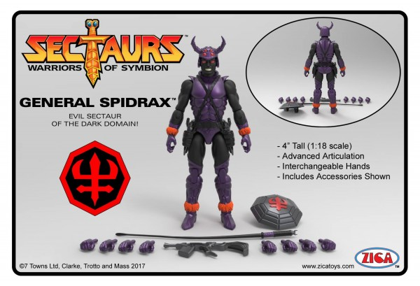THE SECTAURS 2°17 GENERAL SPIDAX ZICA TOYS
